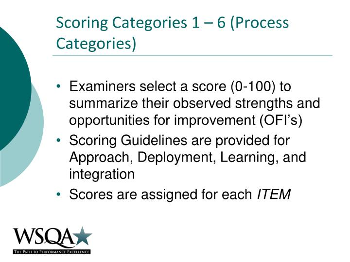 Scoring categories 1 6 process categories