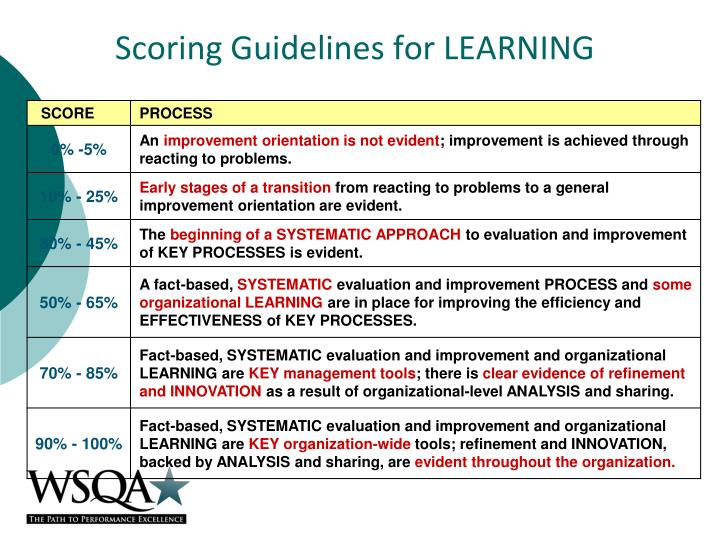 Scoring Guidelines for LEARNING