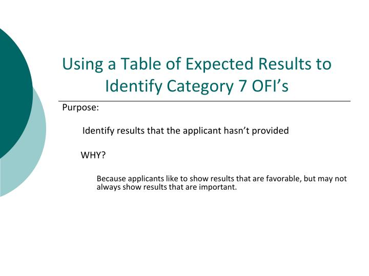 Using a Table of Expected Results to Identify Category 7 OFI's