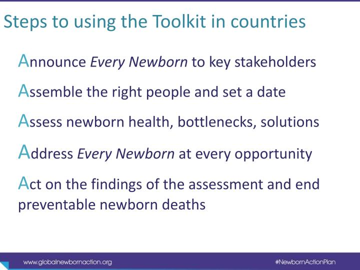 Steps to using the Toolkit in countries