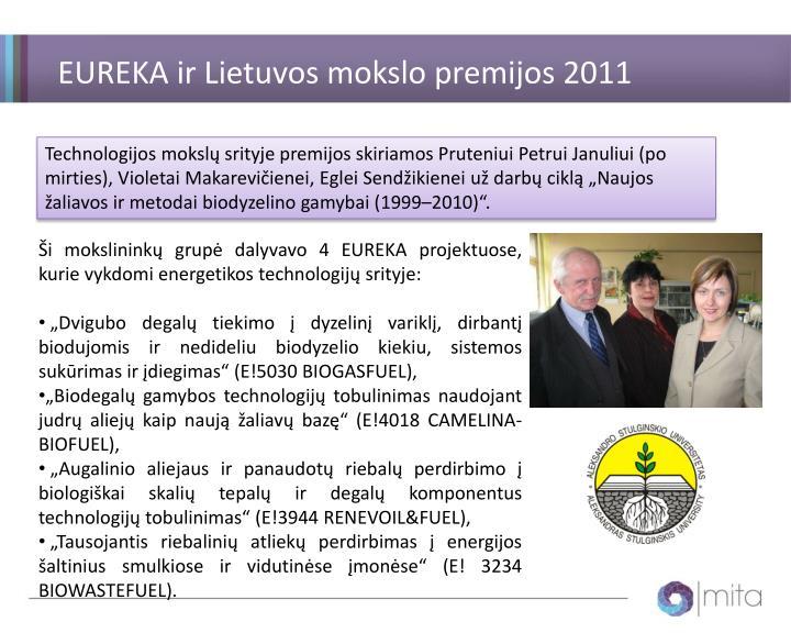 EUREKA ir Lietuvos mokslo premijos 2011 m.