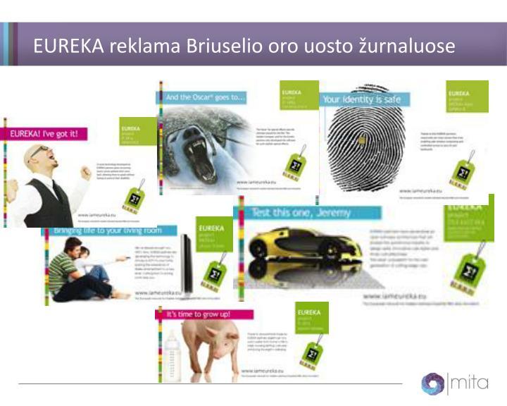 EUREKA reklama Briuselio oro uosto žurnaluose