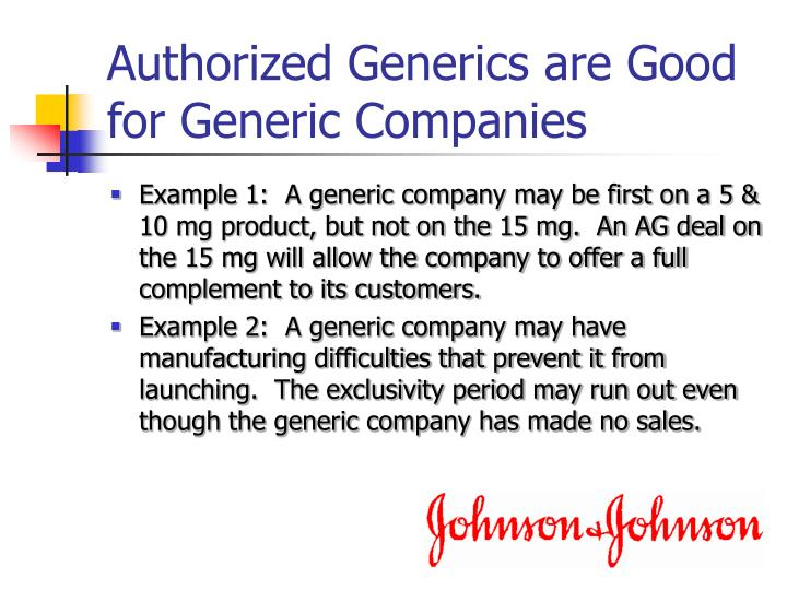Authorized Generics are Good for Generic Companies