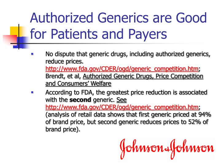 Authorized Generics are Good for Patients and Payers