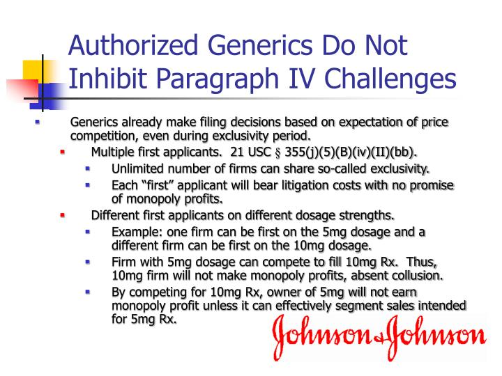 Authorized Generics Do Not Inhibit Paragraph IV Challenges