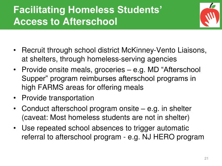 Facilitating Homeless Students' Access to Afterschool