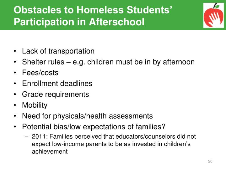 Obstacles to Homeless Students' Participation in Afterschool