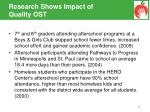 research shows impact of quality ost