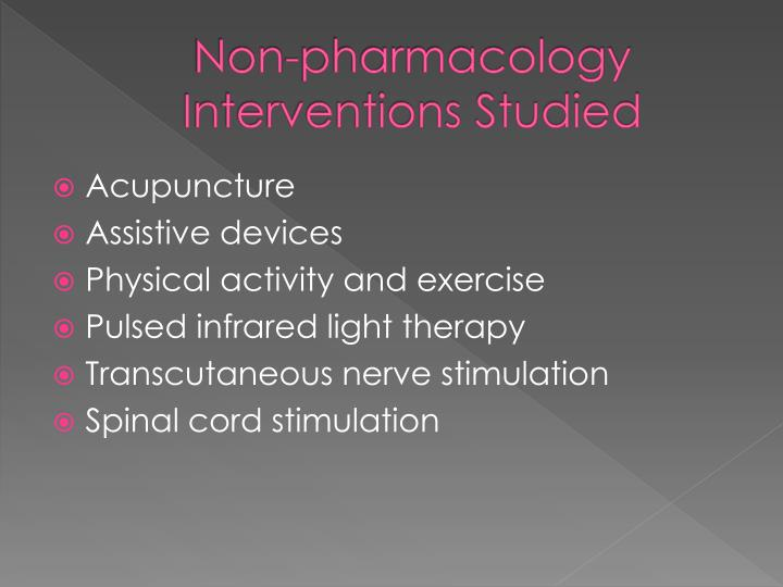 Non-pharmacology Interventions Studied
