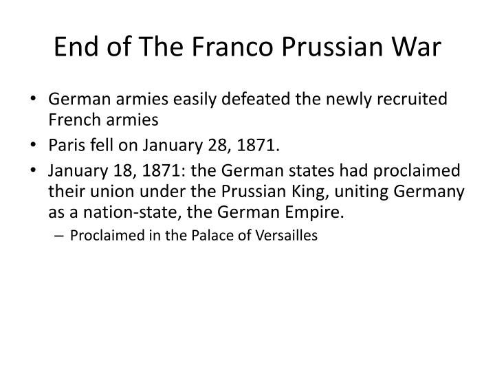 End of The Franco Prussian War