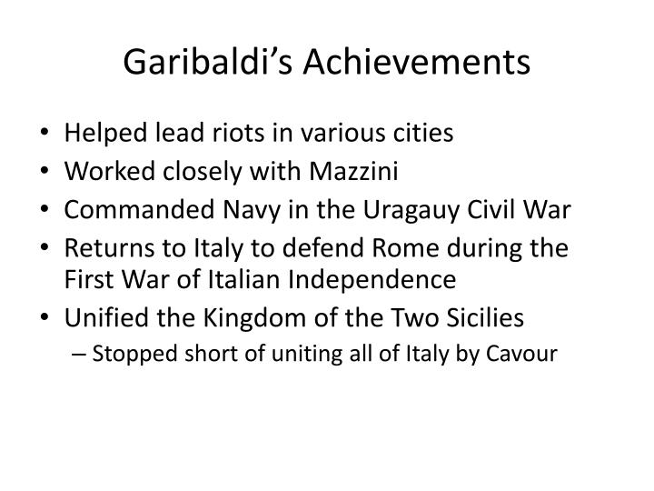 Garibaldi's Achievements