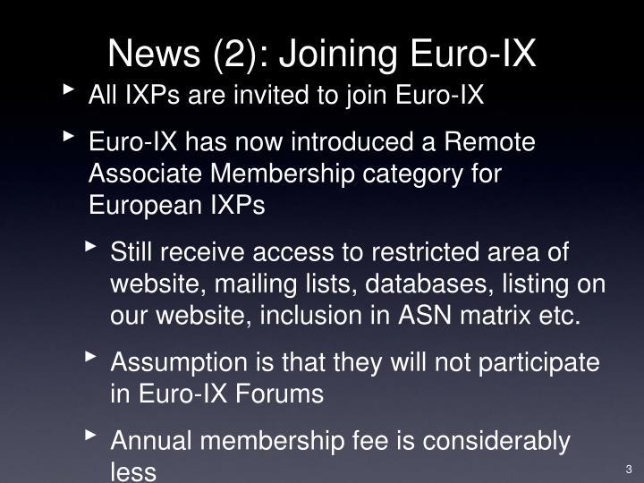 News (2): Joining Euro-IX