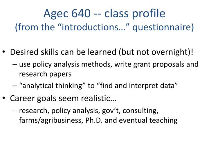 Agec 640 class profile from the introductions questionnaire1