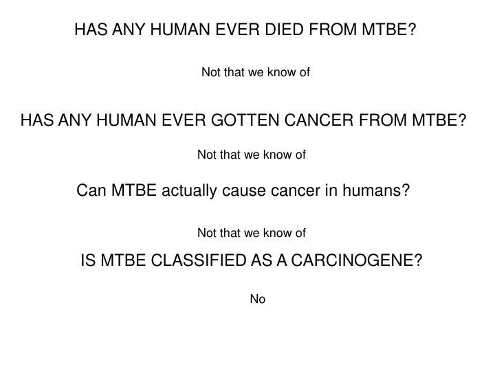 HAS ANY HUMAN EVER DIED FROM MTBE?