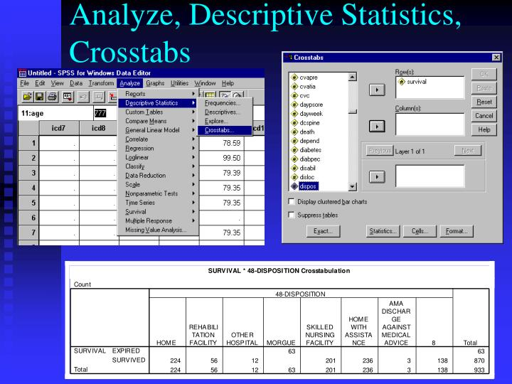 Analyze, Descriptive Statistics, Crosstabs