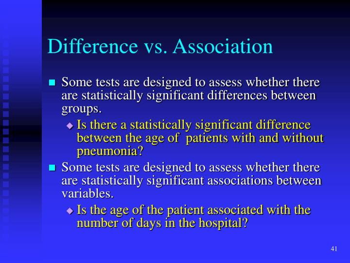 Difference vs. Association
