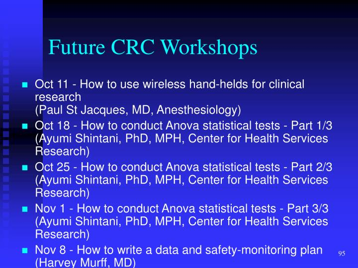 Future CRC Workshops
