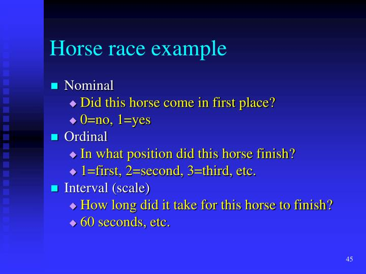 Horse race example