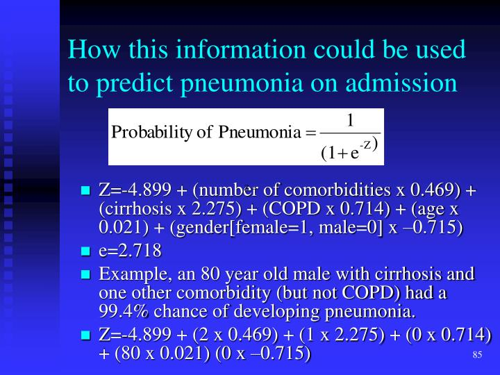 How this information could be used to predict pneumonia on admission