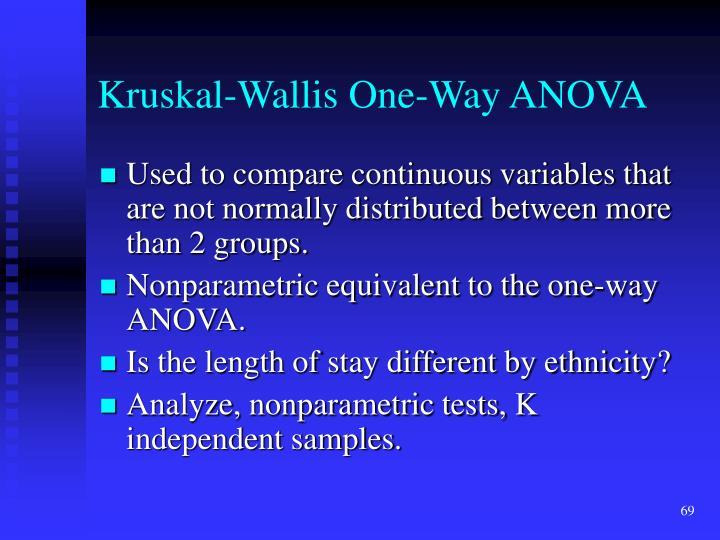 Kruskal-Wallis One-Way ANOVA