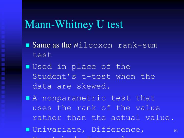 Mann-Whitney U test