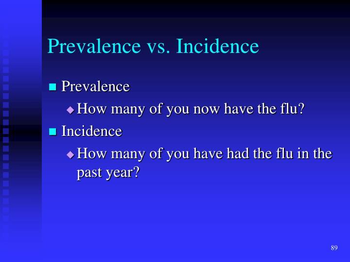 Prevalence vs. Incidence