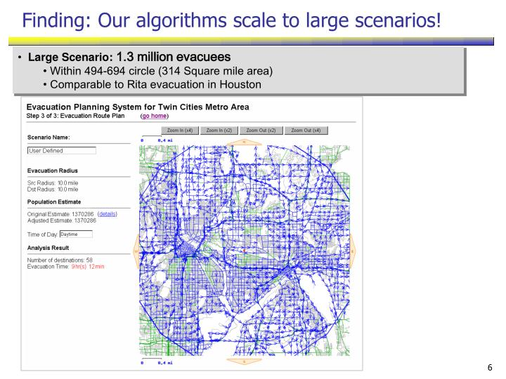 Finding: Our algorithms scale to large scenarios!