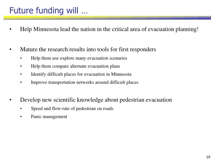 Future funding will …