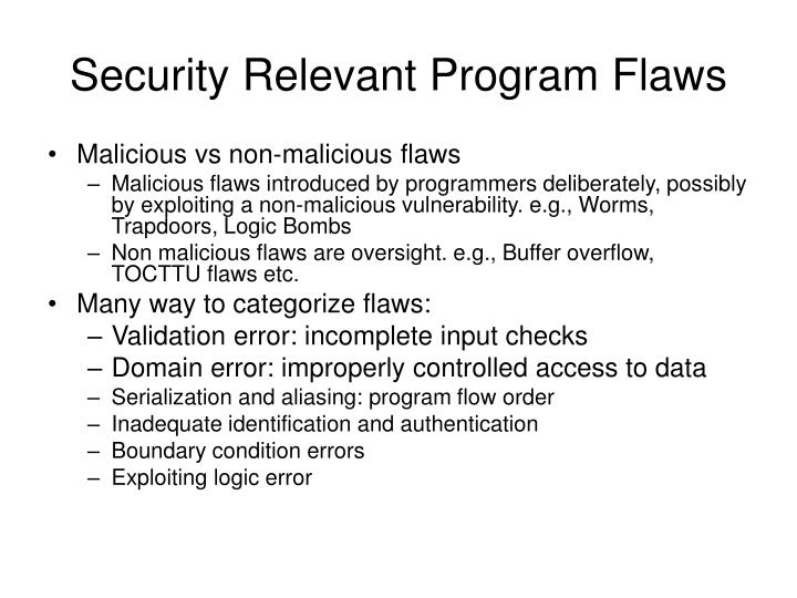 Security Relevant Program Flaws