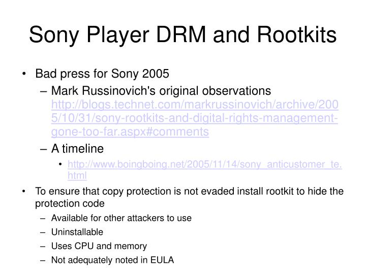 Sony Player DRM and Rootkits