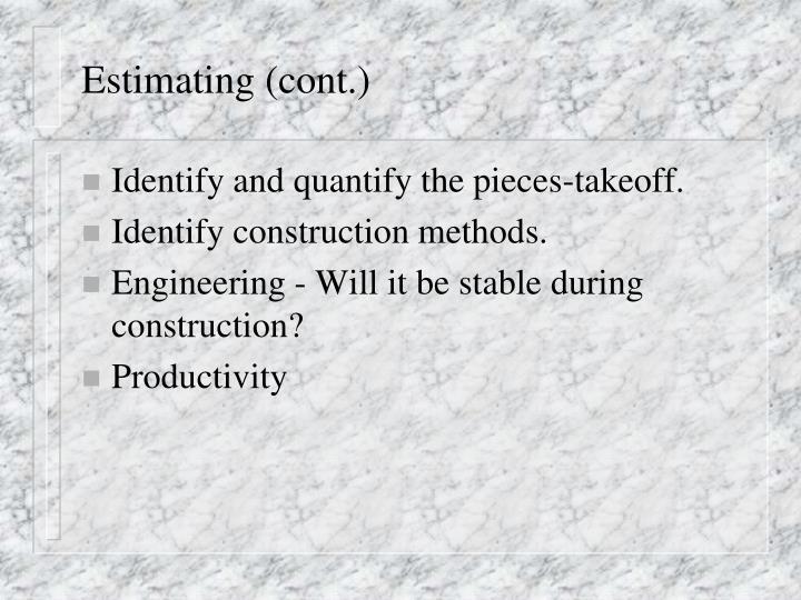 Estimating (cont.)