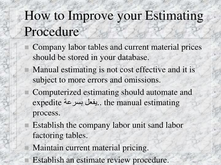 How to Improve your Estimating Procedure