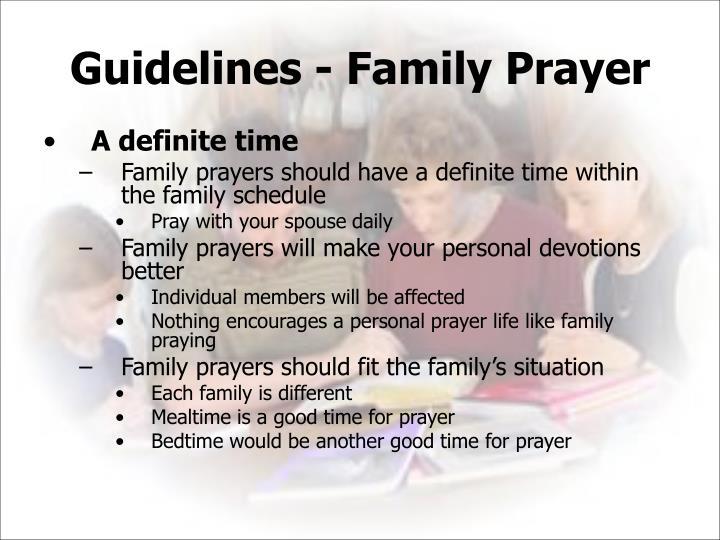 Guidelines - Family Prayer
