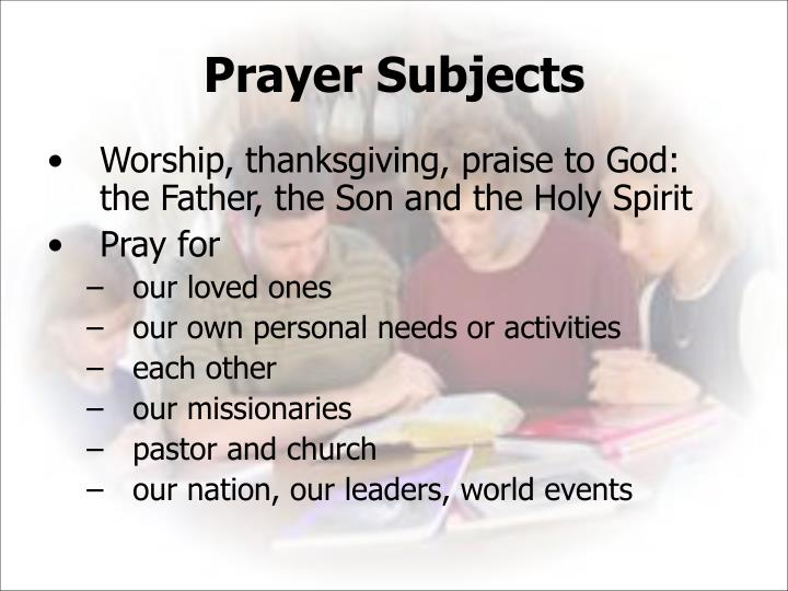 Prayer Subjects