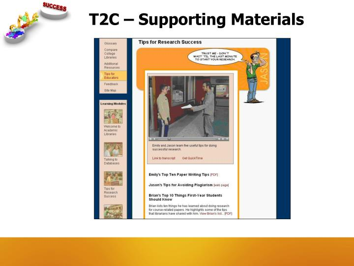 T2C – Supporting Materials