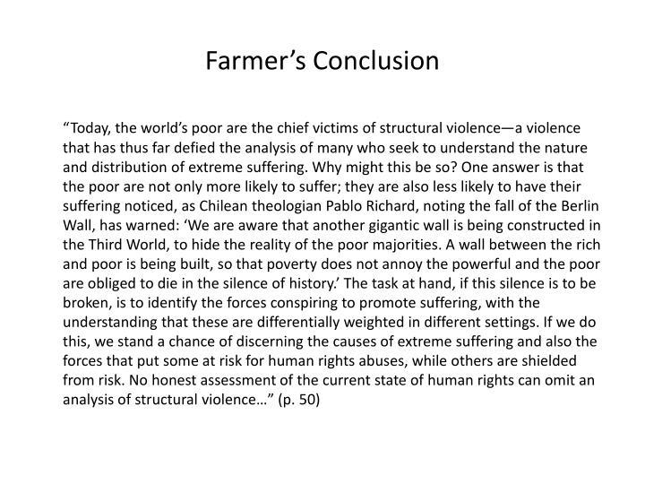 Farmer's Conclusion