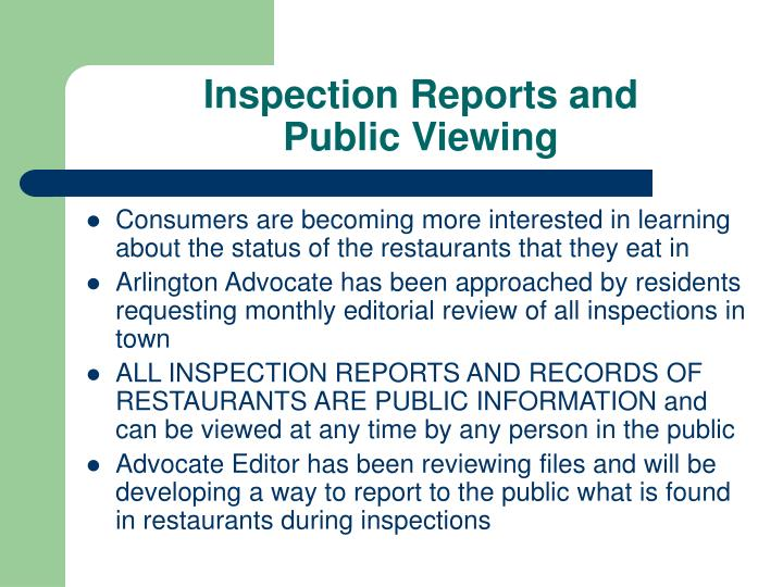 Inspection Reports and