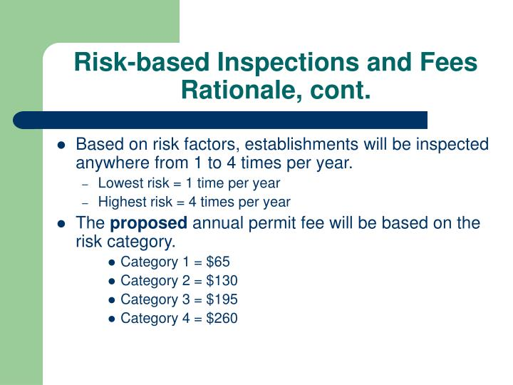 Risk-based Inspections and Fees