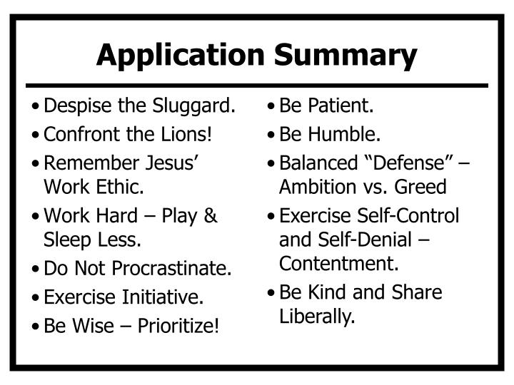 Application Summary