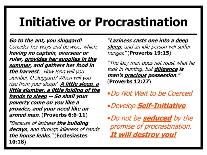 Initiative or Procrastination