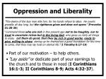 oppression and liberality
