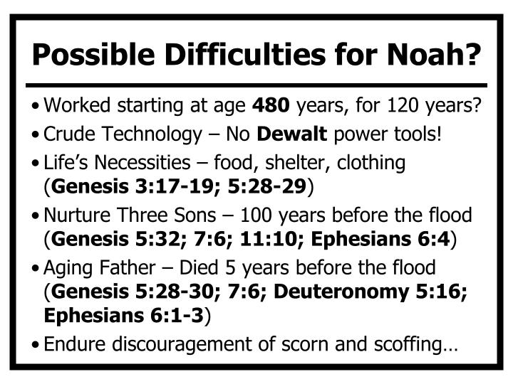 Possible Difficulties for Noah?