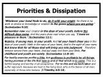 priorities dissipation