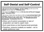 self denial and self control