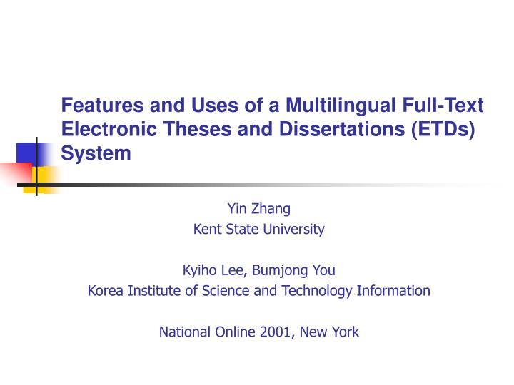 Dissertation Electronic Full Text Thesis University