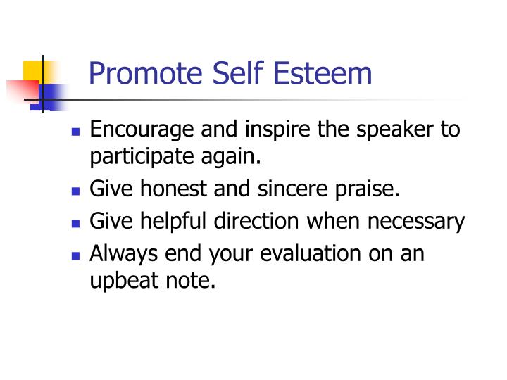 Promote Self Esteem