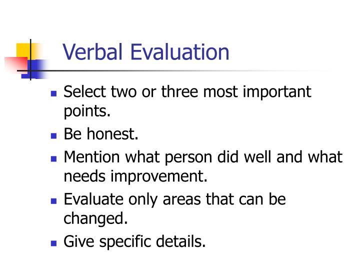 Verbal Evaluation
