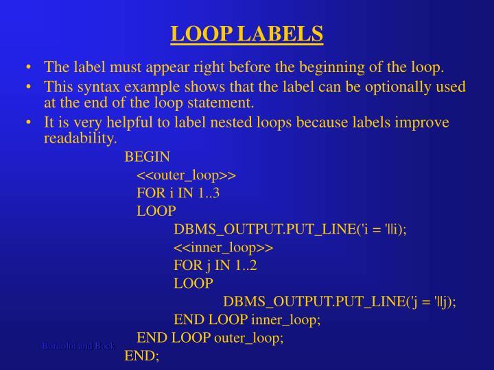 LOOP LABELS