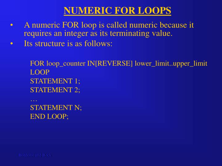 NUMERIC FOR LOOPS