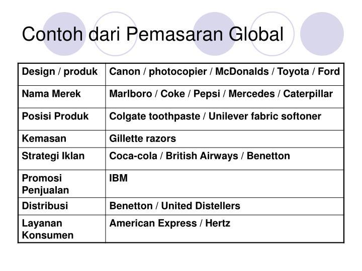 Contoh dari Pemasaran Global